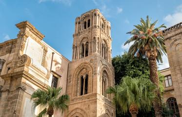 Aluminium Prints Palermo View of the baroque facade with the Romanesque belltower of Santa Maria dell'Ammiraglio Church known as Martorana Church, Palermo, Italy