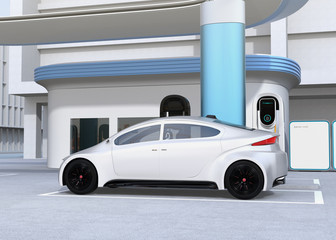 Side view of electric sedan charging at charging station. 3D rendering image.