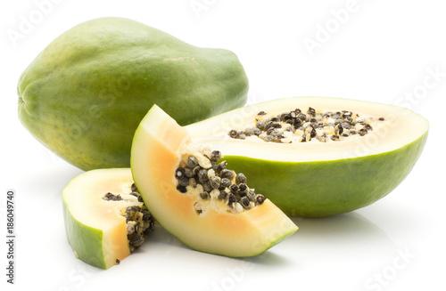 Sliced Green Papaya Pawpaw Papaw Isolated On White