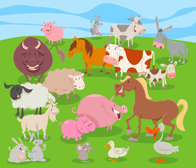 cute cartoon farm animal characters group
