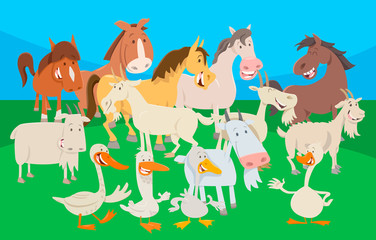 cute farm animal cartoon characters group