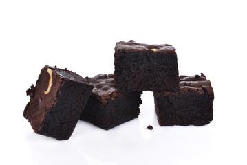 chocolate walnut brownies on white background.