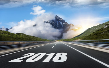 Empty asphalt road and New year 2018.