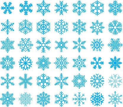 Snowflakes Set - Vector Set of 42