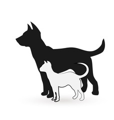 Dog and cat posing together icon