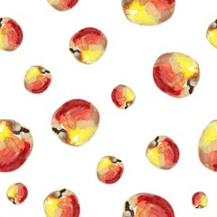 Summer fruit illustration. Watercolor seamless pattern with red apples.