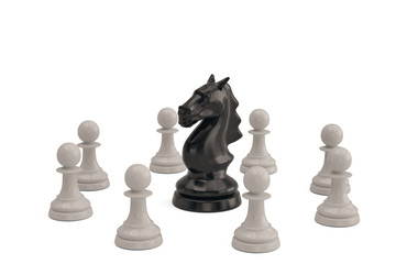 Knight and pawns chess piece on white background.3D illustration.