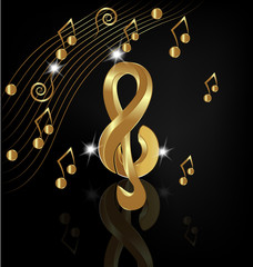 Gold musical note on black background