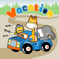 funny animals cartoon on truck