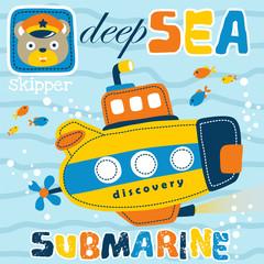 yellow submarine cartoon with cute skipper head