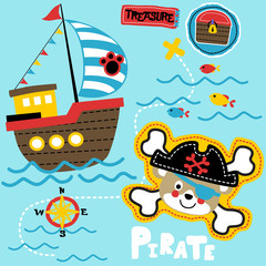 funny pirate head cartoon with wooden sailboat