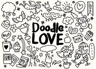 Cartoon vector hand drawn Doodle Love illustration. vector illustration