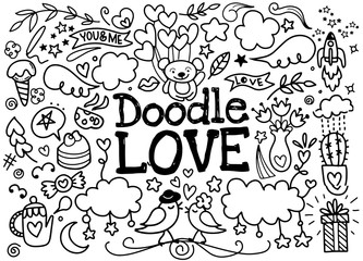 cute Cartoon vector hand drawn Doodle Love illustration. Line art sketchy detailed design background with objects and symbols