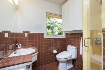 Clean Brown tile bathroom
