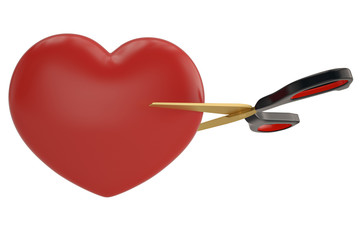Scissors and heart on white background 3D illustration.