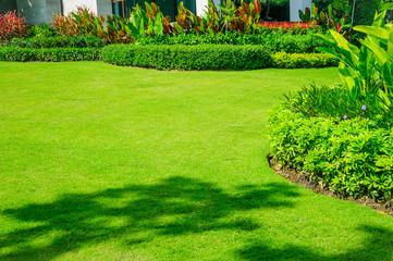 Deurstickers Groene Landscape formal, front yard is beautifully designed garden.