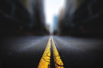 Urban Road City Landscape Yellow Line Blur