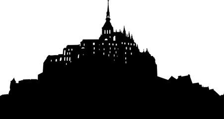モンサンミシェル風の城のシルエット