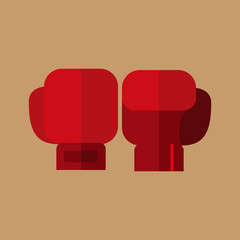 Simple Flat Style Boxing Gloves Sport Vector Illustration Graphic