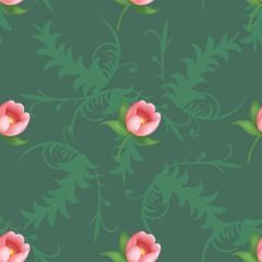 Shabby chic vintage tulips vintage seamless pattern, classic chintz floral repeat background for web and print