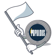 With flag populous coin character cartoon