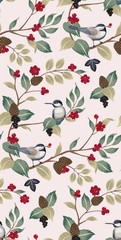 Vector illustration of a seamless floral pattern with cute birds in winter for Wedding, anniversary, birthday and party. Design for banner, poster, card, invitation and scrapbook