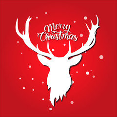 Merry christmas postcard. White deer silhouette on red background. Snow