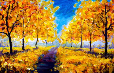 Oil Painting - autumn, yellow foliage, park, autumn trees, blue sky