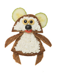 Funny bear made with black bread and cheese