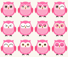 seamless cute cartoon owls pattern