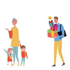 プレゼントを買いに行く 家族 イラスト