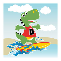 dino surfer cartoon