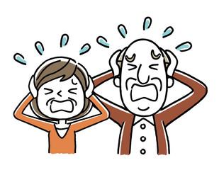 シニア夫婦:パニック、慌てる