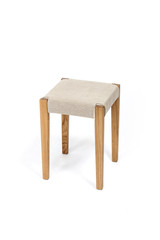 solid wood stool isolated the white background.