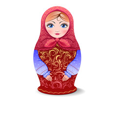 Vector matryoshka doll isolated on white background, Khokhloma