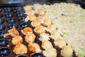 Fried octopus dough balls or Takoyaki