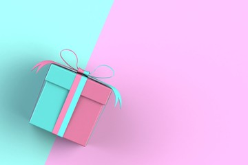 Christmas and New Year's Day, gift box isolated on pink and blue background, 3D rendering