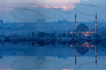 Fatih Mosque and istanbul city view , spectacular sunsets