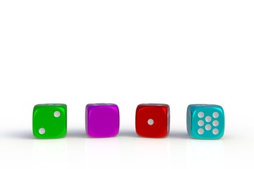 Happy New Year 2018 concept with colorful dice, 3D rendering isolated on white background