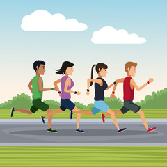 People running outside icon vector illustration graphic design