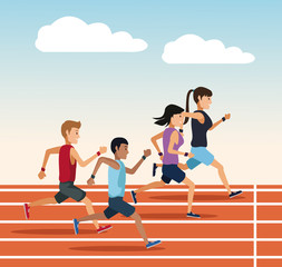 People running on track icon vector illustration graphic design