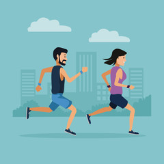 Couple running in the city icon vector illustration graphic design