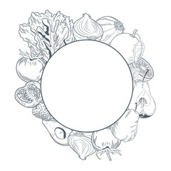 Vegetables and fruits round frame hand draw icon vector illustration graphic design