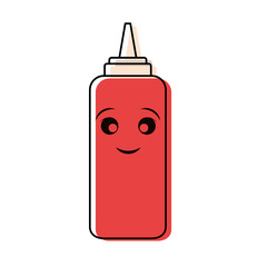 kawaii ketchup  vector illustration
