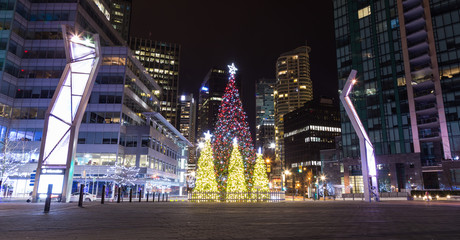 Christmas tree and lights in Vancouver downtown Fotomurales
