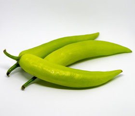 Green Hot Chilli Pepper of Thailand isolated on the white background