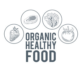 Organic healthy food hand draw icon vector illustration graphic design