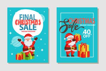 Christmas Sale Discount Set Vector Illustration