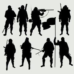 The set of images soldiers silhouettes vector EPS10