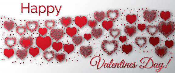 Glossy hearts. Valentine's Day. Festive Greeting Card. Decorated with a mandala pattern.